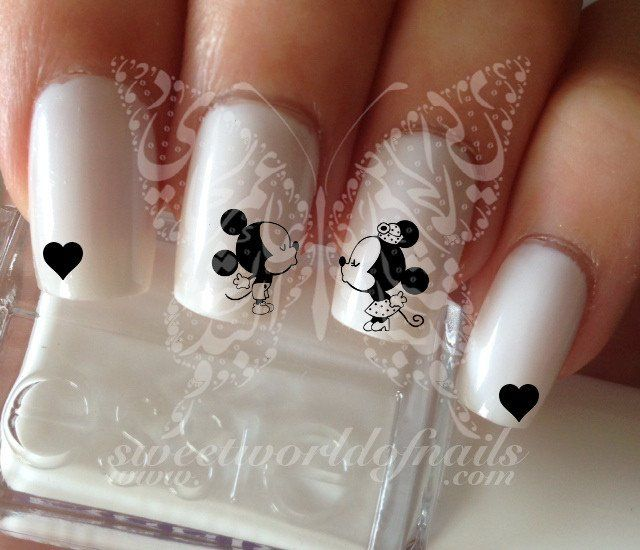 Disney Nail Art Mickey Minnie Mouse Love Black Heart Nail Water Decals | nail art design ideas | nail art