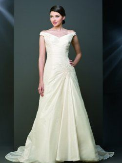 goedkope v-hals off-the-shoulder vloerlengte eenvoudige trouwjurken