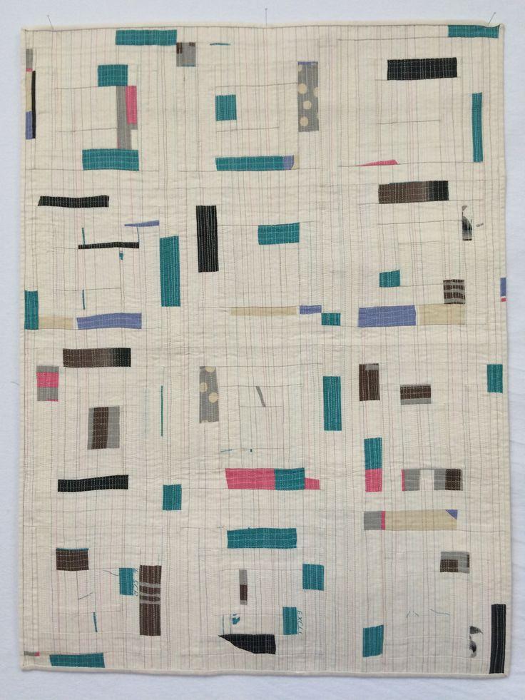 Yoshiko Jinzenji fabric cut & sewn randomly in log cabin pattern, then matchstick quilted. All by Elizabeth Allen.