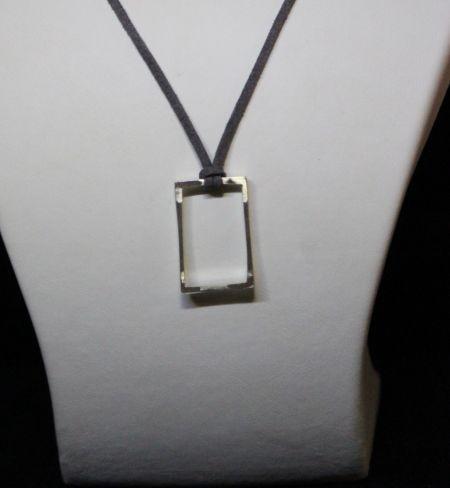 gümüş dikdörtgen kolye - silver pendant