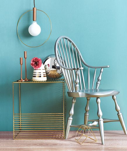 Silver and gold furniture with blue wall | Presenting Real Simple's carefully curated list of the very best online sources for furniture. Find your ideal sofa, table, bed, and more by shopping these standout sites.