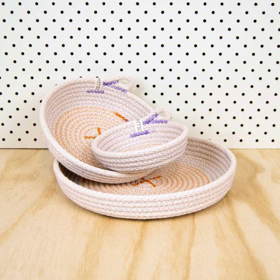 Dish Set  // Cotton rope // Custom Colour // Basket, Handmade Homeware, Clutter Catcher, Organiser, Housewarming, Wedding Present