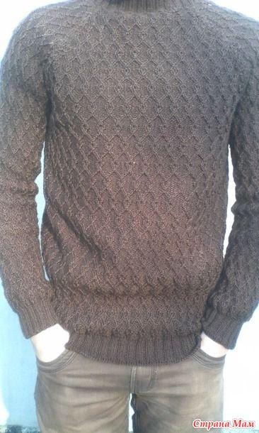 Вот и закончила обновку сынуле. Впервые тяжело далось вязание. Свитер связан реглан. Нитки Картопу флора. Ушло 600г. Спицы самые тонкие какие нашла в своих закромах. На этом фото видно цвет