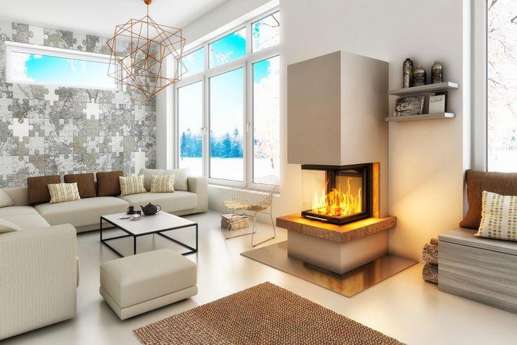 Eleganckie kominki nowoczesne - Hajduk, kominek na bazie wkładu Smart 3PLh #kominek #dom #wnętrze #design #interior