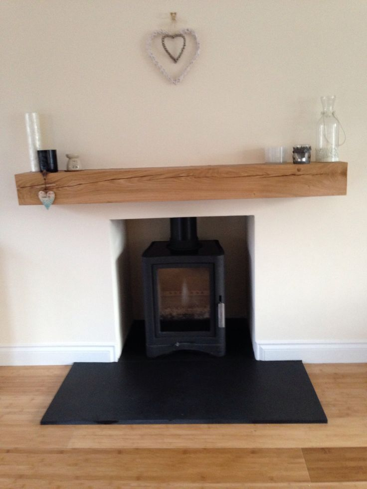 Wood Burning Stove Oak Beam Slate Hearth Modern