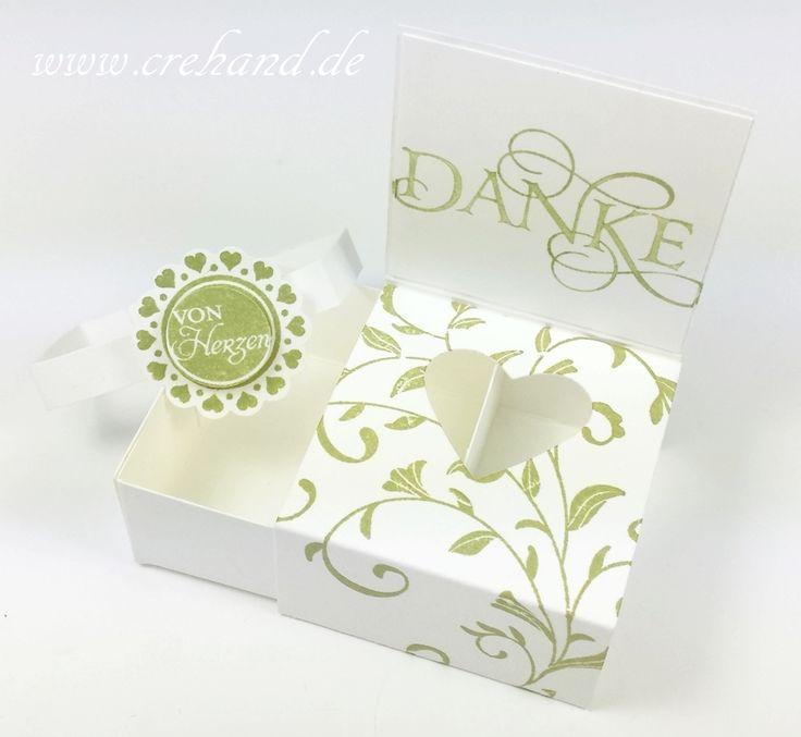 crehand Verpackung Schokoherz und Teelicht Auf den ersten Blick Farngrün Stampin Up 2016