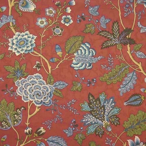 Fabric I used for cornices in den.  Waverly Himalayan Song.  The blue just pops against that mandarin orange background.