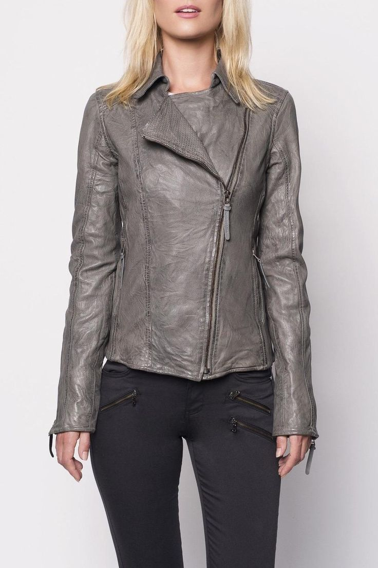 This biker style jacket by Bano eeMee comes in slate grey. It has pin-hole perforated lapels with moldable memory wire seams. Ribbed leather sides make for a comfortable fit. The hand-burnishing and distressing highlight the natural leather grain.    Grey Leather Jacket by Bano eeMee. Clothing - Jackets, Coats & Blazers - Jackets Canada
