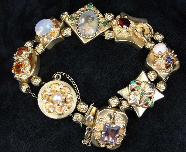 Antique Vintage 14K Gold Multi-Gemstone Victorian Style Slide Charm Bracelet #VictorianSlideBracelet