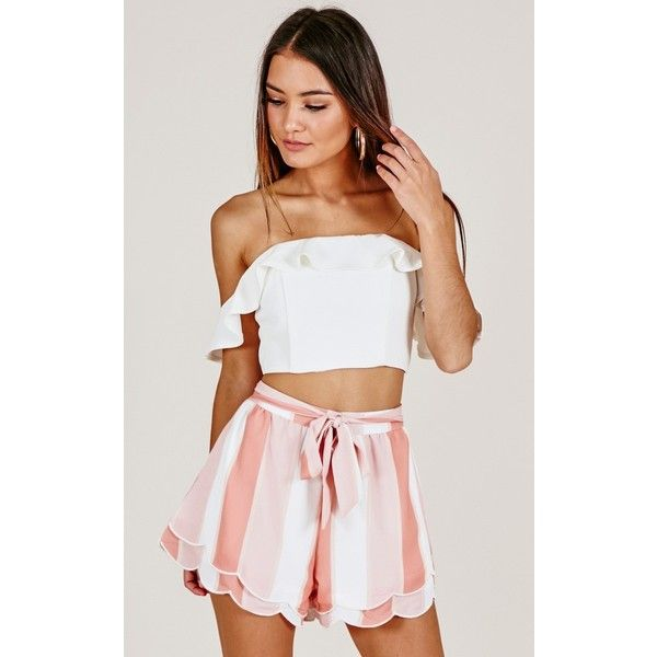 Make A Wish shorts in peach stripe ($51) ❤ liked on Polyvore featuring shorts, striped shorts, cropped shorts, tie waist shorts, stripe shorts and peach shorts