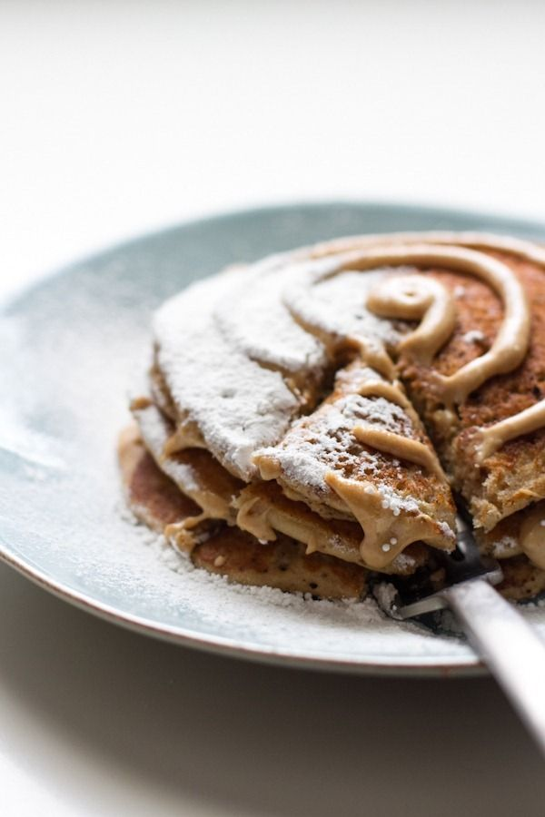 gluten-free cinnamon roll pancakes | edible perspective. My niece would looove