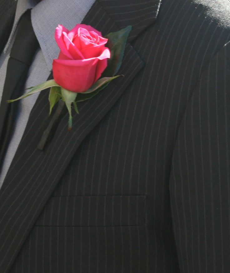 Fuchsia rose bouttoniere