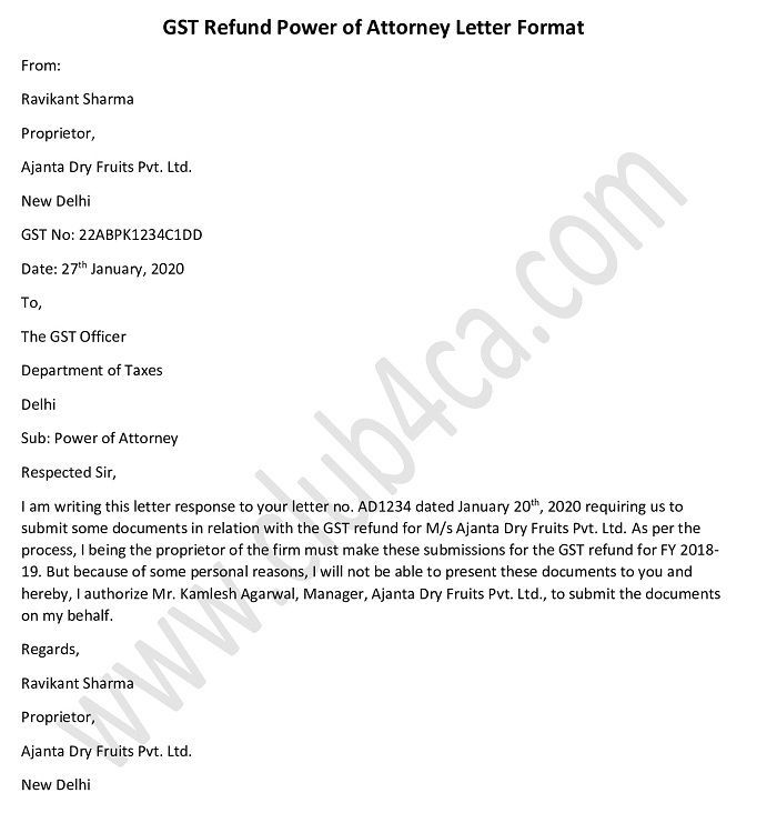 power of attorney letter format for gst refund in 2020