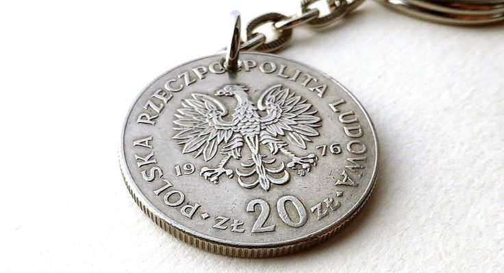 Polish keychain, Coin keychain, Eagle keychain, Vintage keychain, Vintage coin, Polish coin, Men's gift, Gift for him, Polish jewelry, 1976 by CoinStories on Etsy
