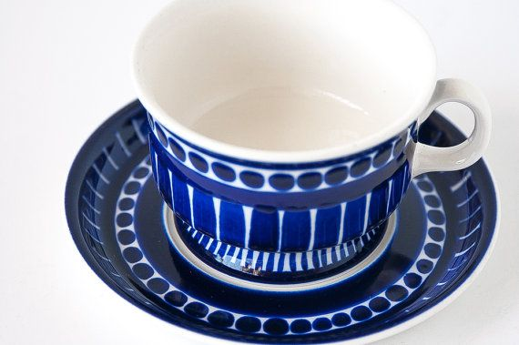 Handpainted / Arabia Finland Valencia Cup and Saucer / Ulla Procope Handpainted / Blue Valencia Design / Mid Century Modern