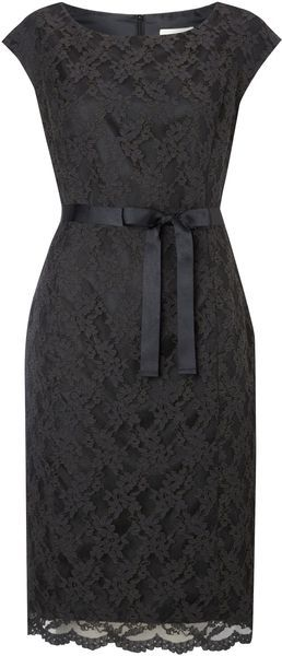 Linea Black Lace Shift Dress  Linea lace shift dress. Knee length. Rounded collar. Zip fastening. Waisted. 59% cotton, 41% polyamide lining: 100% polyester. Dry clean only