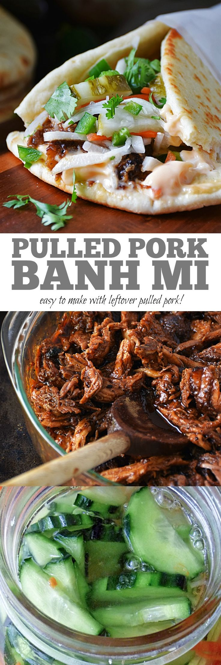 Pulled Pork Banh Mi | by Life Tastes Good is a unique and delicious way to re-purpose leftover pulled pork. A fusion of French and Vietnamese cuisine, the Banh Mi sandwich is a flavor powerhouse that gives all five senses a workout! #LTGrecipes