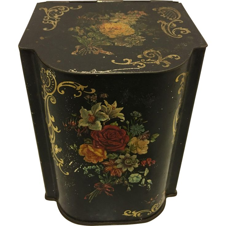 Vintage Tin Slant Top Floral Tea Caddy French Country