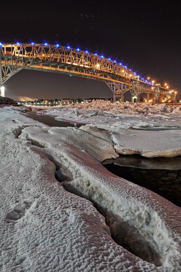 Bluewater Bridge taken from Point Edward Ontario looking toward Port Huron Michigan