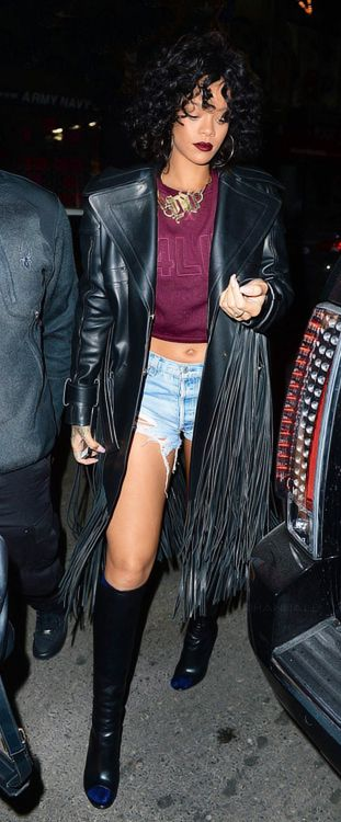 Rihanna partied it up last night at New York City's Pink Elephant! She hit the club in a Tom Ford Fall 2013 Leather Fringe Coat. Fashion Bo...