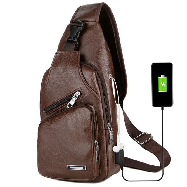 Leisure leather usb charge man shoulder bag zipper men chest pack headphone hole functional travel crossbody leather bags