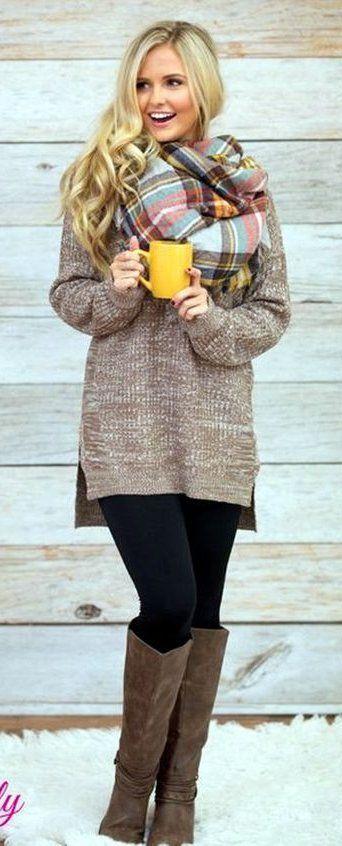 #winter #fashion / Printed Scarf / Beige Knit / Black Leggings / Brown OTK Boots