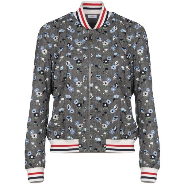 Thom Browne Jacket (36 800 UAH) ❤ liked on Polyvore featuring outerwear, jackets, grey, grey wool jacket, floral bomber jackets, floral embroidered jacket, floral print bomber jacket and bomber jackets