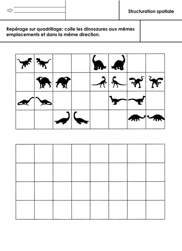 Coller les dinosaures aux mêmes emplacements et dans la même direction sur un quadrillage 4X8. - repérage quadrillage GS.docx - repérage quadrillage GS.pdf