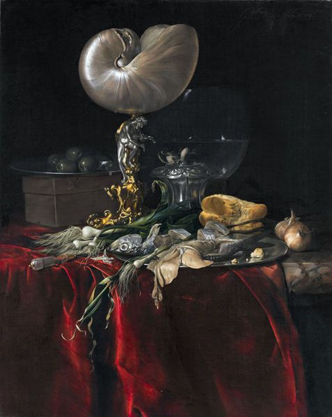 """Still Life w/ Fish, Bread & a Nautilus Cup"" -- 1678 -- Willem van Aelst -- Dutch -- Oil on canvas -- Via Alain Truong"