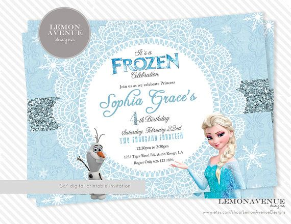 Frozen Invitation Custom Frozen Invitation Birthday Party, Olaf, Elsa, Anna, Frozen Party Decor,  Chevron, Glitter, Disney Frozen, Frozen on Etsy, $12.00