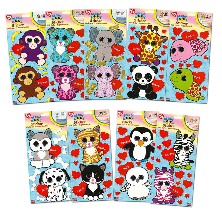"""Amazon.com: Ty Beanie Boos Giant Stickers ~ Complete Set of 18 Large Beanie Boo Stickers (5""""): Toys & Games"""