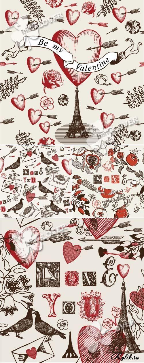 День Валентина - сердца, голуби, Эйфелева башня, любовные письма в векторе