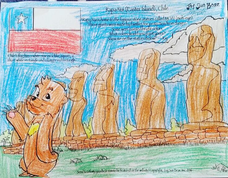 Love 6 year old Raksha's unique take on Easter Island! On #TravelTuesday, journey to Chile & explore the country and culture with Joy! Send in your kid's coloring page to be featured on our website and social media: info@joysunbear.com  #kids #color #coloring #chile #chilean #spanish #bear #sunbear #travel #education #school #homeschool #fun #flag #easterisland #kidsart #art #explore #adventure #globaled #mkbkids #mkbglobaled #world #culture #share #global #learn #expression #tuesday