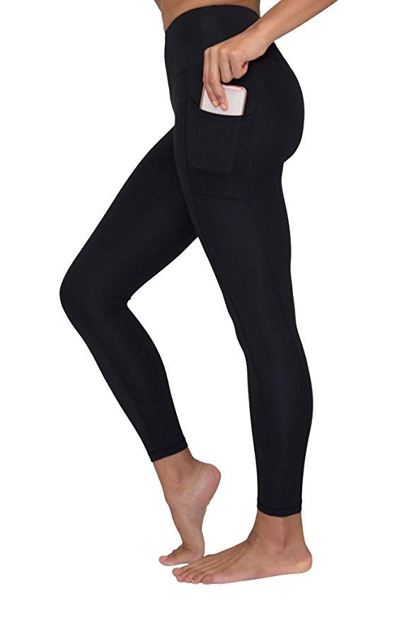 d44410cb39c73 90 Degree By Reflex High Waist Tummy Control Interlink Squat Proof Ankle  Length Leggings - Black - XS