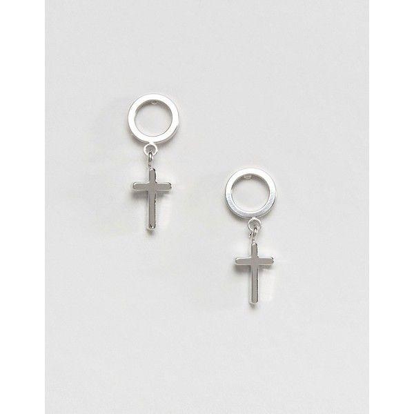 DesignB London Halloween Cross Drop Stud Earrings ($9.37) ❤ liked on Polyvore featuring jewelry, earrings, silver, crucifix earrings, gold and silver jewelry, cross earrings, geometric earrings and stud earrings