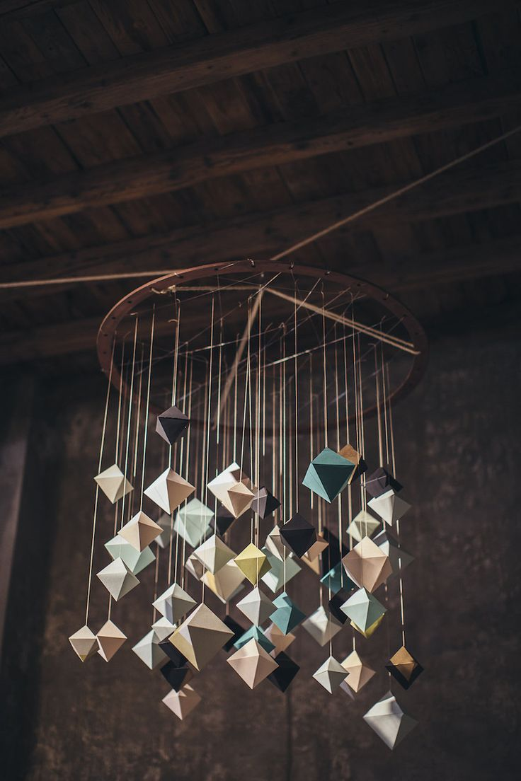 geometric chandelier by Cut and Paste