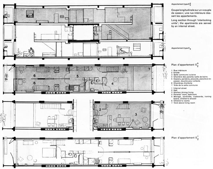 Unite d 39 habitation le corbusier sections pinterest for Plan habitation