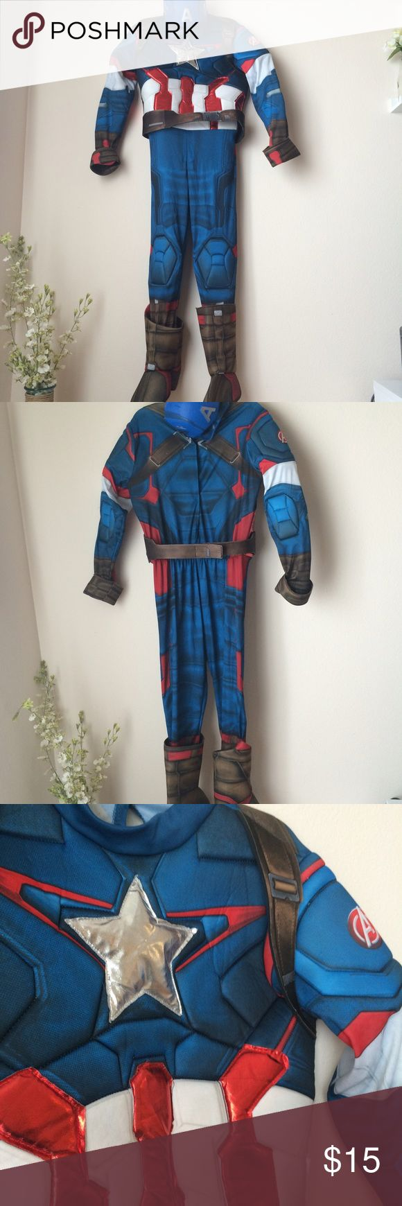 Avenger Captain America Costume Kids Complete Captain America Civil War Costume for kids. Used once. Includes everything shown. Tobacco free home. Marvel Costumes Superhero