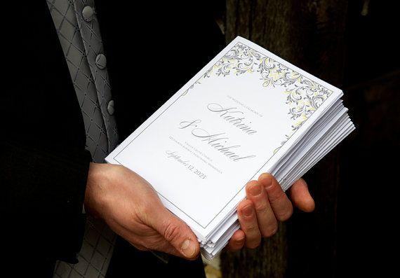 Elegant Wedding Program Template - Instant Download - EDITABLE TEXT -Kate Foldover (Light Yellow & Gray) (Microsoft Word Format - .docx)