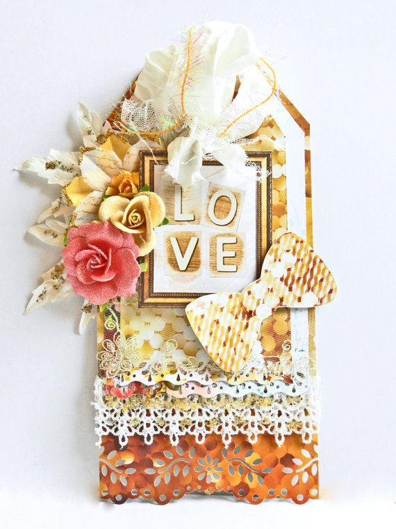 This handcrafted tag is a gift in itself! Created using the brand new Websters Pages All that Glitters Collection, this tag features beautiful