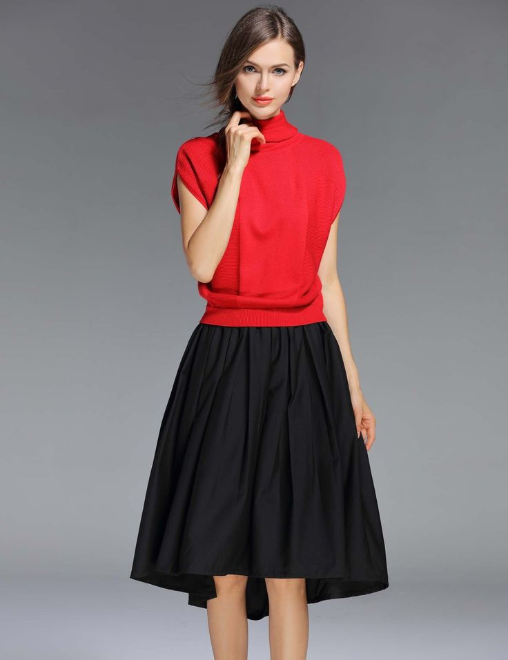 Red Turtleneck Short Sleeve Patchwork Pleated Casual Dresses