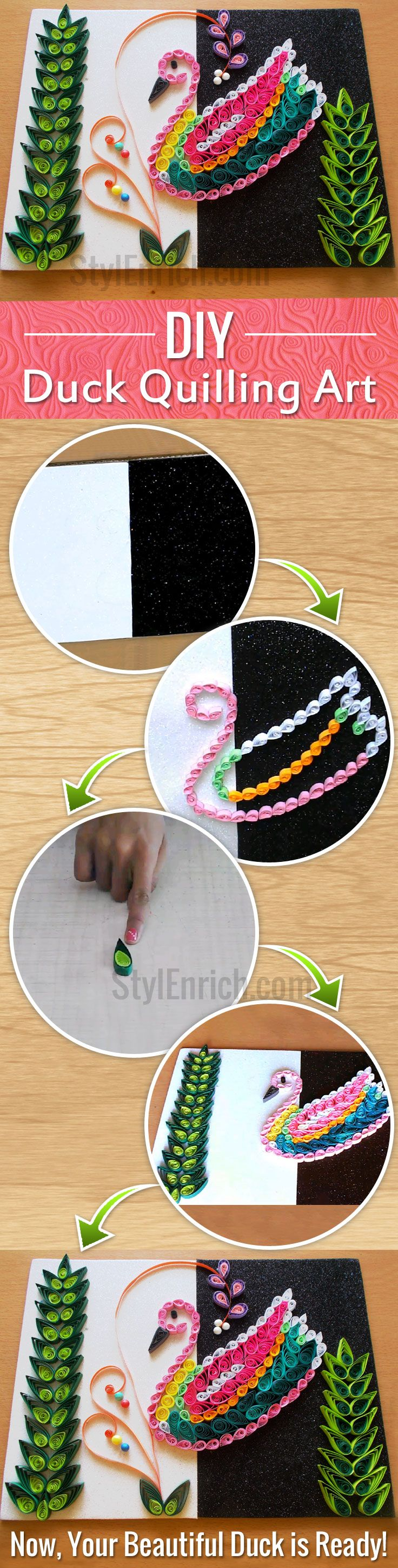 #Quilling Art is one such form of creating #DIYCrafts that can extensively be used for various purposes. Here, we have provided quilling tutorial on How to Make a Multicoloured Duck Using Quilling Art. Take a look on this Quilled Bird and explore your craft ideas to creating elegant Quilling Home Decor.