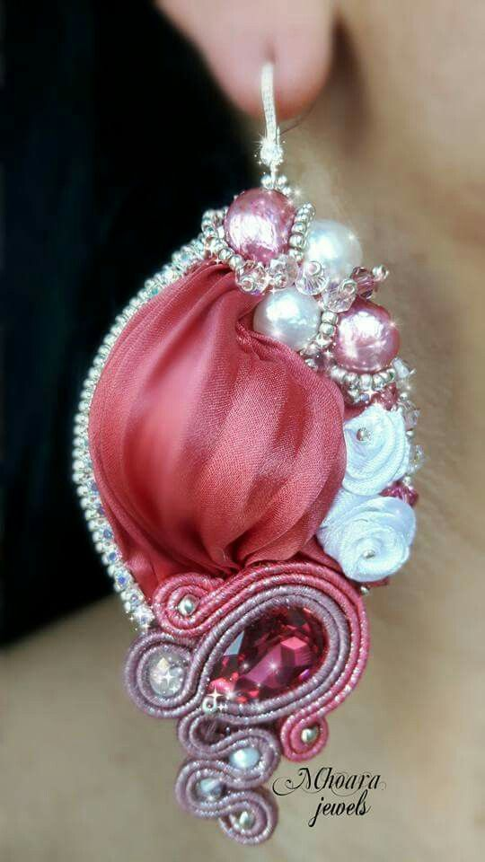 ' Antique Pink ' earrings. Shibori silk and soutache designed by Mhoara Jewels