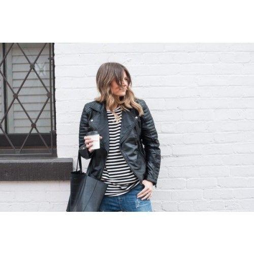 Black Quilted Asymmetrical Biker Lambskin Leather Jacket - QSJ | by VIPARO