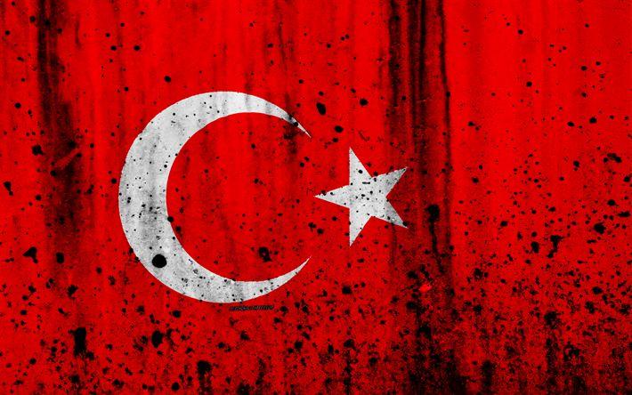 Herunterladen hintergrundbild türkische fahne, 4k, grunge-flagge von der türkei, in europa, nationale symbole, türkei, wappen von türkei, türkische waffen