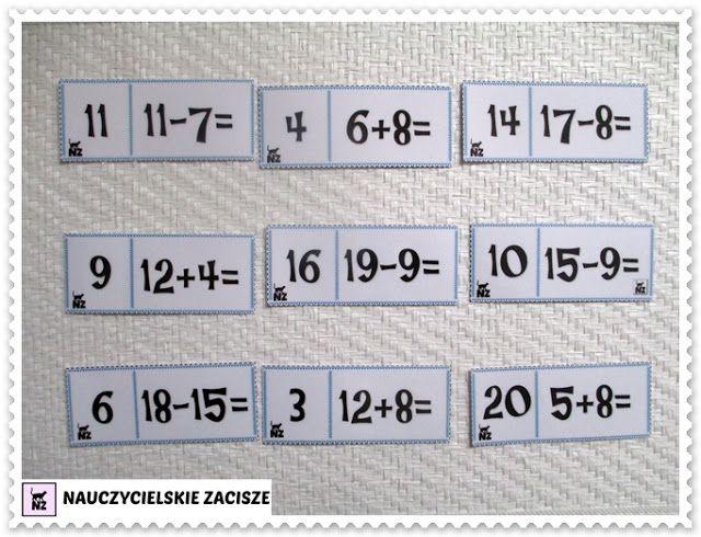 Nauczycielskie zacisze: Gry matematyczne - dodawanie i odejmowanie w zakresie 20 DO POBRANIA DOMINO