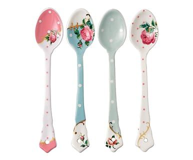 Fine Bone China-Löffel-Set Roses, 4-tlg., L 16 cm