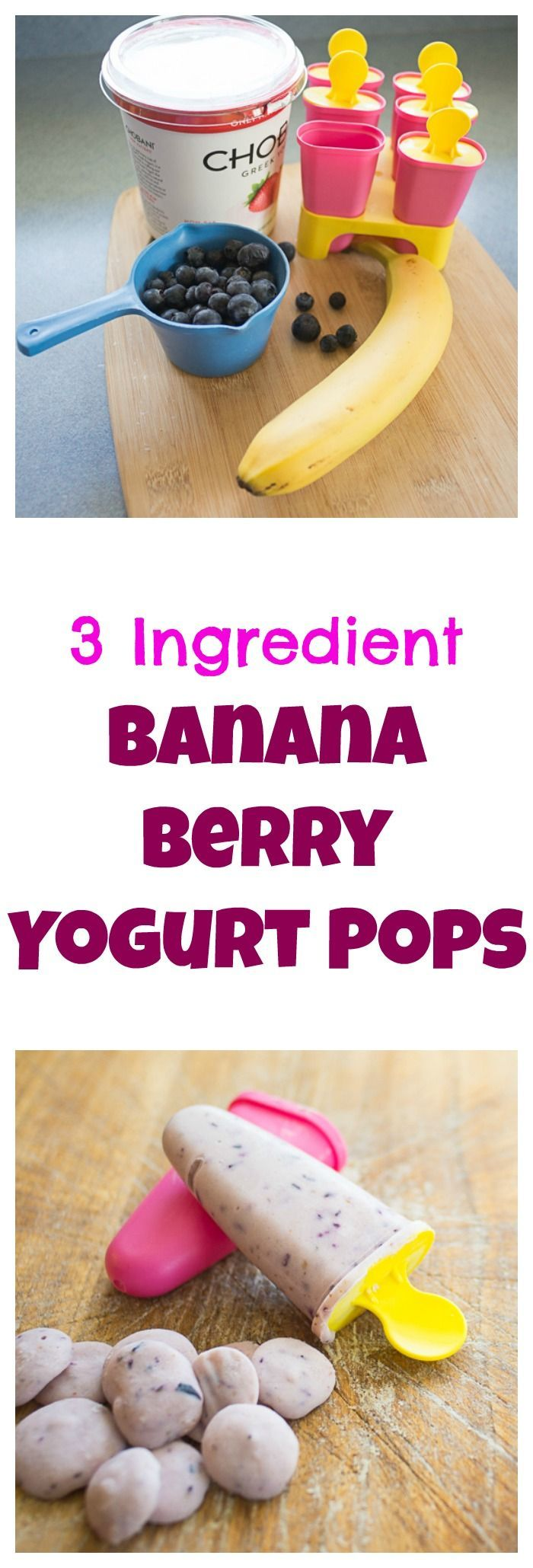 "Our kids favorite summer ""treat"" - healthy banana blueberry yogurt pops. http://bloggingwithapples.com"