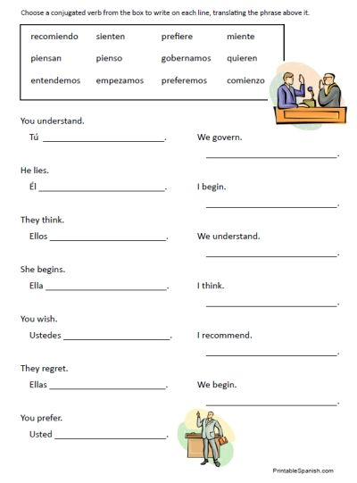spanish worksheets for middle school free printable spanish worksheet stem changing verbs. Black Bedroom Furniture Sets. Home Design Ideas