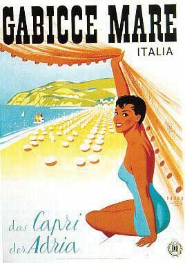 Vintage Italian Posters ~ #illustrator  #Italian #posters ~ Gabicce Mare, Italy #travel #poster by Mario Puppo 1950